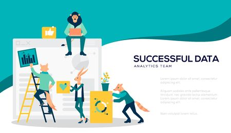 Analysis of sales, statistic grow data, accounting illustration concept