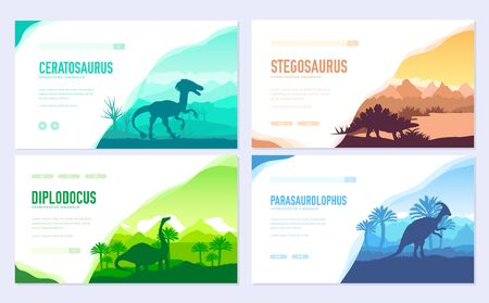 Brochures with set of primitive dinosaurs. Carnivorous predator animals before BC. Template of flyer, web banner, ui header, enter site. Invitation concept background. Layout modern slider page