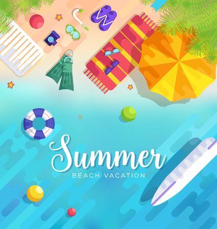 summer vacation time background vector illustration concept Illustration