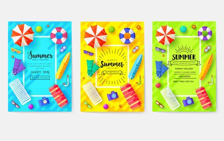 summer vacation time vector brochure cards set. Ecology template of flyer, magazines, poster, book cover, banners. Outdoor invitation concept background. Layout illustration modern page background 向量圖像