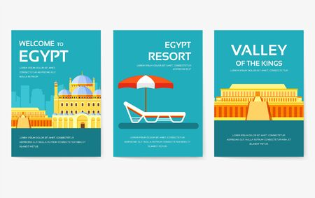 Set of Egypt country ornament travel tour concept. Vacation traditional, magazine, book, poster, abstract, element. Vector decorative ethnic greeting card or invitation design background
