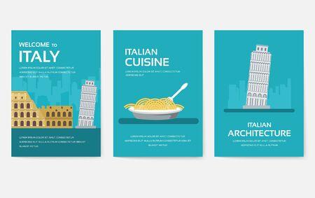 Satz von Italien-Land-Ornament-Reise-Tour-Konzept. Asien traditionell, Zeitschrift, Buch, Poster, abstrakt, Element. Vektor dekorativer ethnischer Grußkarten- oder Einladungsdesignhintergrund
