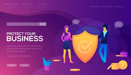 Protect your business landing page vector template. School of business website flat concept. Office worker with animal head. Insurance company. Cartoon characters in suits. Web banner with text space  イラスト・ベクター素材