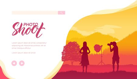 Silhouette of photographer with equipment taking photos of young woman on nature. Photo shoot session with female model against forest landscape. Place for text, copy space. Vector template.