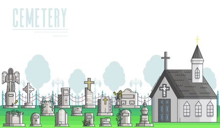 Funeral services of agency banner. Christian cemetery.
