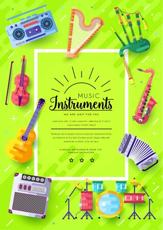 Music instruments vector brochure cards set. Audio tools template of flyear, magazines, poster, book cover, banners. Concert invitation concept background. Layout illustration modern page Banque d'images - 131085985