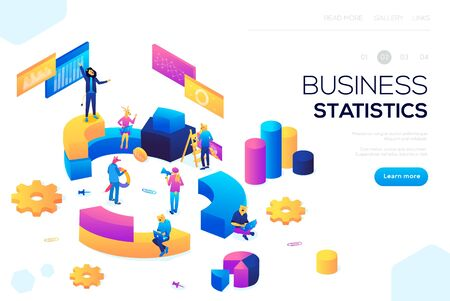 Flat isometric infographics for banner or business header vector illustration. Financial administration concept. Consulting for company performance, analysis concept. Statistics and business statemen Ilustracja