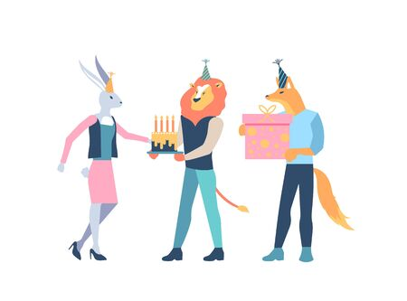 Animal characters in birthday hats celebrate with cake, gift box. Colleagues congratulate woman with holiday. Corporate party in office. Happy birthday, anniversary vector concept isolated on white.