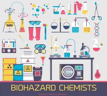 Manufacturing of biohazard chemical agents clipart. Set of scientific laboratory tools and equipment flat icons, pictograms isolated on grey. Medical lab vector elements for infographic, web.