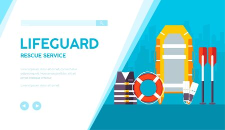 Lifeguard equipment for working on beach: life saver, vest, flippers, oars, boat. Swimming outfit vector flat banner on urban background. Rescue service template for website. Place for text.