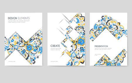 Set di carte brochure vettoriale astratto. Stampa modello artistico di flyear, riviste, poster, copertine di libri, banner. Priorità bassa di concetto di invito design colorato. Pagina moderna delle illustrazioni dell'ornamento della disposizione