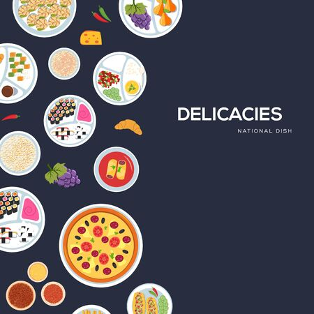 Vector banner with national dishes. Traditional delicacies poster. Invitation card for holiday with seafood, fruits, pastry. Template for food festival, cafe menu, advertising. Copy space. Top view.