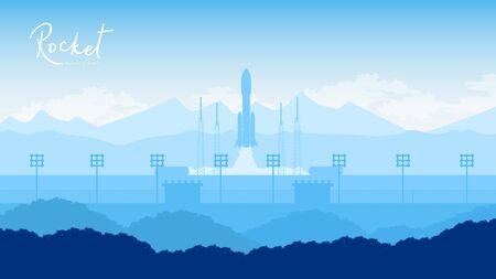 Rocket takes off in the starry sky backround Illusztráció