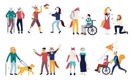 Set of men and women vector illustration