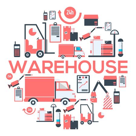 Warehouse and delivery services 24 hours banner.