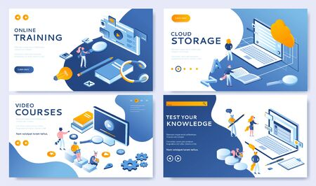 Vector illustration of Landing page design templates. Set for Cloud Library, Online Education, Video Tutorials and Online testing. Modern concepts easy to edit and customize for websites