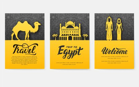 Set of Egypt country ornament illustration concept. Art traditional, poster, book, abstract, ottoman motifs, element. Vector decorative ethnic greeting card or invitation design