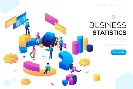 Flat isometric infographics for banner or business header vector illustration. Financial administration concept. Consulting for company performance, analysis concept. Statistics and business statemen 일러스트