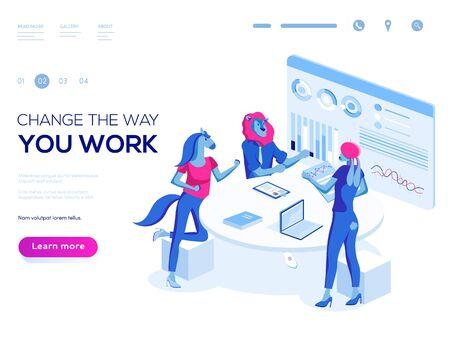 Landing page template. 3d vector isometric illustration. People work in a team and interact with graphs. Business, workflow management and office situations.