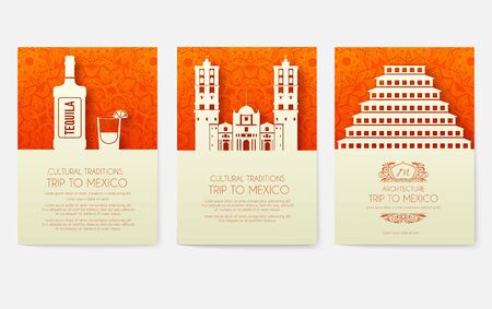 Set of Mexico country ornament illustration concept. Art traditional, poster, book, poster, abstract, ottoman motifs, element. Vector decorative ethnic greeting card or invitation design Illustration