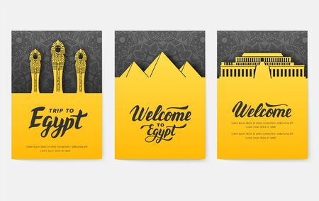 Set of Egypt country ornament illustration concept. Art traditional, poster, book, abstract, ottoman motifs, element. Vector decorative ethnic greeting card or invitation design background.