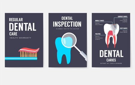 Dental office interior information cards set. Hygiene template of flyear, magazines, posters, book cover, banners. Clinic infographic concept background. Layout dentistry illustrations modern Çizim