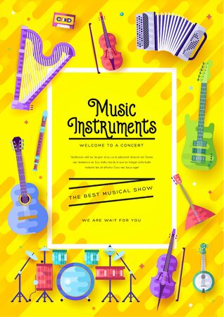Music instruments vector brochure cards set. Audio tools template of flyear, magazines, poster, book cover, banners. Concert invitation concept background. Layout illustration modern page background