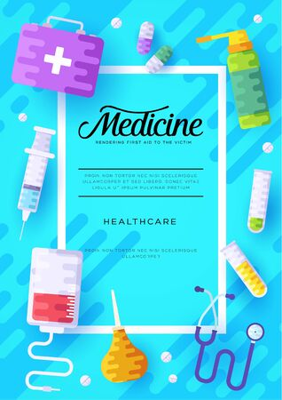 Medicine information cards set. Medical template of flyer, magazines, posters, book cover, banners. Clinical infographic concept background. Layout illustrations modern pages Zdjęcie Seryjne - 134468377