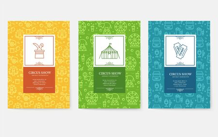 Set of thin line festival circus vacation pattern concept. Art traditional, magazine, book, poster, abstract, banners, element. Vector outline package greeting card or invitation design background Иллюстрация