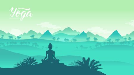 Yoga exercise on the top of the mountains surrounded by nature. Healthy lifestyle for beautiful girls. Sport land page wallapapers design concept