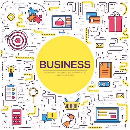 Business vector thin line. Marketing template layout outline illustrations modern