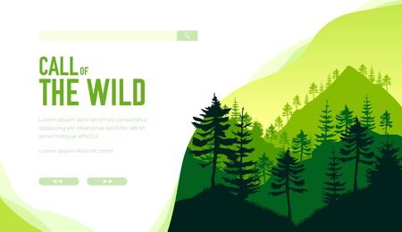 Call of the wild, save Earth concept. Silhouette of evergreen trees on mountains. Depths of ancient forest on green background. Vector design for ecology, botanic, tourist projects. Place for text. Çizim