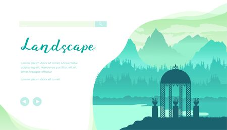 Beautiful landscape with mountains, forest, river, ornamental gazebo in green colours. Nature place for relaxation, meditation and inspiration. Park pavilion. Vector design. Place for text, copy space