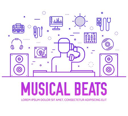 Set of DJ sound and lighting suppliers violet line icons on white background. Musical beat outline pictograms collection. Modern audio equipment, devices vector element for infographic, web.