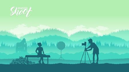A photographer with equipment
