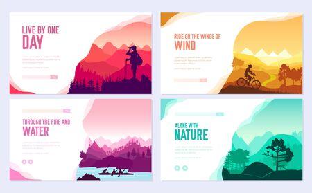 Sport rest day vector brochure cards set. Tourism on nature template of flyear, web banner, ui header, enter site. Invitation concept background. Layout illustration modern slider page
