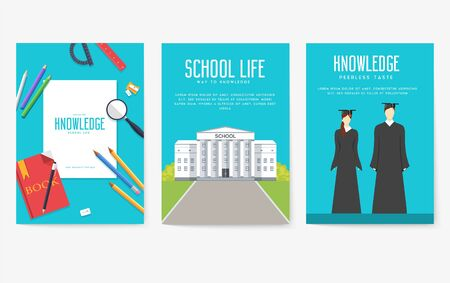 Back to school information cards set. Student template of flyear, magazines, posters, book cover, banners. College education infographic concept background. Layout illustrations modern