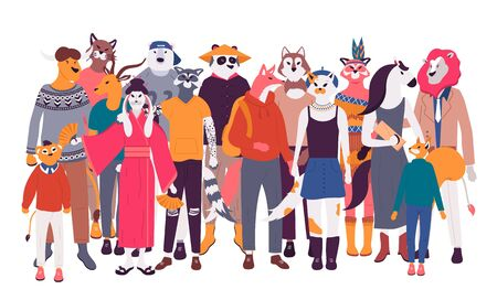 Happy old and young men, women and children standing together flat cartoon. Social diversity vector illustration. Diverse multiracial and multicultural group of people isolated on white background.