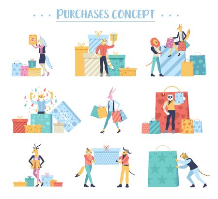 people sale shop buying gifts market concept of selling in the store at a bargain price shopping order joyful boutique work mall seasonal black friday trendy landing page Postcards and poster