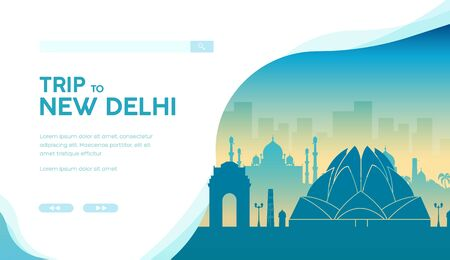 Silhouette of famous indian landmarks and sightseeing attractions. Lotus temple, India Gate, Taj Mahal in New Delhi. Vector template, landing page for travel, tourist projects. Place for text.