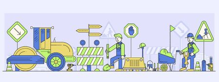 Workers building or repairing road, laying asphalt. Construction process of highway alignment with traffic signs, paving machine, truck, drills, shovels, compactor, tools. Vector flat illustration.