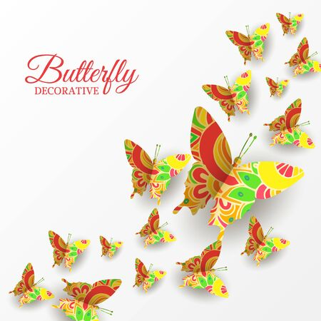 Abstract summer background. Decorative frame with colorful flying butterflies. Vector paper cut illustration, template for banner, flyer, invitation, greeting card. Copy space, place for text.