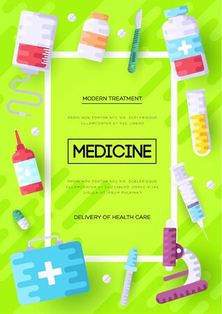 Medicine information cards set. Medical template of flyer, magazines, posters, book cover, banners. Clinical infographic concept background. Layout illustrations modern pages Zdjęcie Seryjne - 134468447