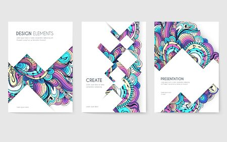 Abstract vector brochure cards set. Music art template of flyear, magazines, posters, book cover, banners. Colorful design invitation concept background. Layout ornament illustrations modern