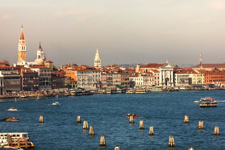 to seem: Beautiful sea view of Venice. Colors of the sunset and clear sky seem spectacular. Venice, Italy Stock Photo