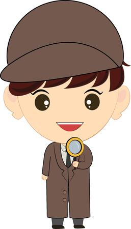 caucasian: Caucasian Cartoon Detective Man Illustration