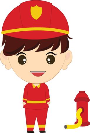 kiddies: Cartoon illustration of a firefighter