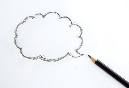 keywords bubble: Speech bubble drawing by one black pencil on white