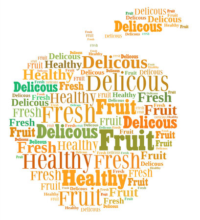 Conceptual illustration of tag cloud containing words related to healthy lifestyle in the shape of an apple illustration