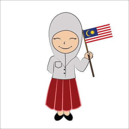 Cartoon girl student ASEAN Malaysia.